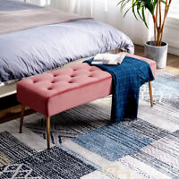 Dohome Modern Velvet Bench Ottoman Comfortable Footrest Stool For Entryway Pink