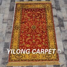 YILONG 2.5'x4' Handmade Antique Vintage Golden Carpet Classic Rugs G67C