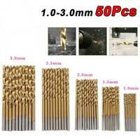 50PCS Round Shank Drill Bits Set Small Precision HSS Twist Drill Tools Steel New