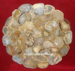 Semi Precious Agate Table Top For Home, Gemstone Flower Cut Agate Table Top