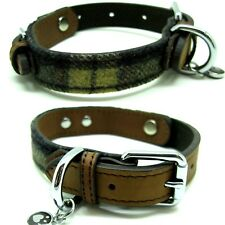 Rosewood Luxury Leather Designer Tartan Tweed Check Dog Collars Leads All Sizes