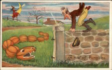 Halloween Snake From Pumpkins Scares Man Series 980 c1910 Postcard EXC COND