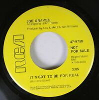 """Hear! Northern Soul Promo 45 Joe Graves - It'S Got To Be For Real / """"Baby"""" If Yo"""