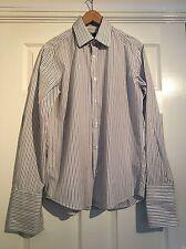 Men's Hugo Boss White Black Long sleeve shirt size large 15 1/2 chest 46 inches
