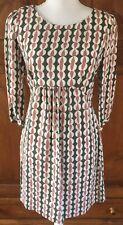 New BODEN Anthropologie dress, Gray Pink White Geometric Print UK 8 US 4 Small