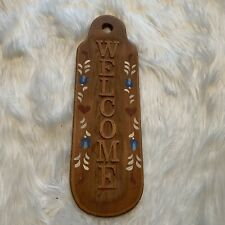 Handmade Wooden Welcome Sign Vertical Red Hearts Blue Floral Country Craftsman