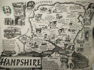 NEW VINTAGE HAMPSHIRE LIFE COUNTY MAP ENGLAND by ROY FAIERS GRIMSBY 1968