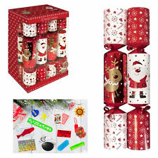12 Pack Family 30cm Christmas Crackers - Red / White Santa Reindeer