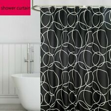 Black Waterproof Shower Curtains Polyester Fabric Bath Curtain Hooks Modern Home