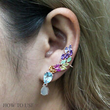 REAL TOPAZ OPAL RUBY EMERALD AMETHYST & TANZANITE STERLING 925 SILVER EARRING
