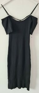 Womens Black Ribbed Cold Shoulder Topshop Bodycon Dress Size 8