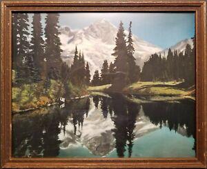 Rare 16x20 Asahel Curtis Hand Tinted Photo. Mt. Rainier from Mirror Lake.