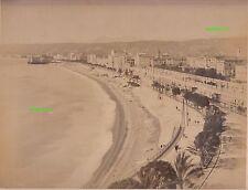 Albumin Foto Nice Nizza Strand Promenade Palmen um 1890 vintage photo france !