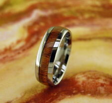 Tungsten Carbide Ring with Koa Wood Inlay 8MM,Wedding Band,Comfort Fit,Dome,Wood