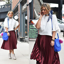 ZARA Bloggers SHINNY MAROON PLEATED MIDI SKIRT Elastic Waistband 5065/042 XS-XL