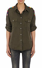 NSF JOHNNA EMBROIDERED DISTRESSED CANVAS SHIRT PETITE