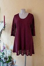 MAGNA RUNDUM SPITZEN TUNIKA Kleid 52 54 NEU bordeaux A-Form Stretch LAGENLOOK