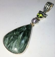 Handcrafted Natural Seraphinite, Peridot, Pearl Sterling Silver Pendant 8 Gr