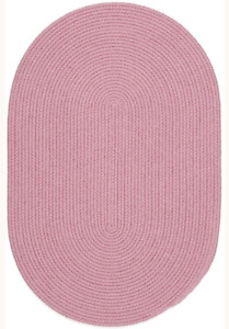 Happy Braids Bright Pink Solid Kids Play Space Stain Resistant Braided Rug