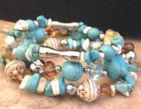Designer Stretch Bracelet Set Simulated Turquoise Stones Premier Chic Fashion 8F