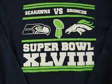 NFL T Shirt Mens Large Seahawks Broncos Super Bowl XLVIII 2014 LS