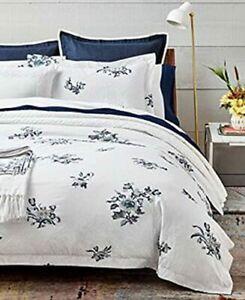 Ralph Lauren Full/Queen Blanc Bleu/ Fallon Duvet Cover Cotton White/Blue  $355