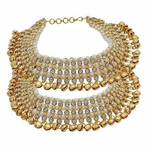 Indian Bollywood Anklet Pearl Fashion Gold Tone Kundan Belly Dance Payal Jewelry