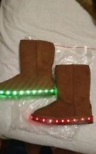 Girl  Light Up  LED Brown Faux Suede Boots size 3US.  (2.5UK). (35 EU)