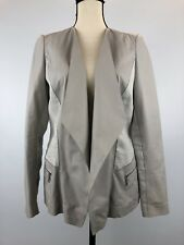 Lafayette 148 Womens 4 White Florencia Open Front Leather Blazer Linen Trim