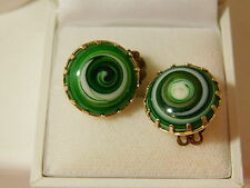 Vtg Green White Swirled Art Glass Bullseye Evil Eye Clip on Earrings Japan 6h 49