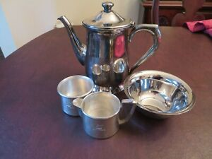 UNITED AIRLINES 1980s First Class Coffee Service & Condiment Dish - Set 3