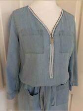 NEW Rainbow UK size 10 blue denim cotton zip drawstring loose shift dress