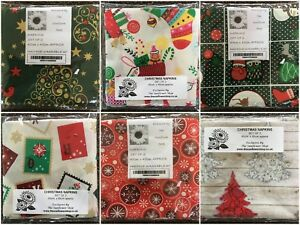 CHRISTMAS NAPKINS Set of 2 100% COTTON 45cm x 45cm