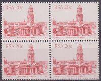 (JS-77) 1982 RSA 20c red 4block Post office Durban MUH