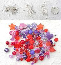 Earrings Kit Purple Pink Red Bead Mix 20 Earwires Headpins Eyepins Xmas Gift