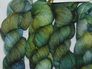 Beauty Greens+Blues HOJAS 470yd Skein Malabrigo LACE xSoft Baby Merino Wool YARN