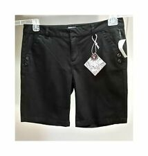 NWT $39 BEBOP Women's Black Solid Cotton Blend Flat Front Casual Shorts Size: 15