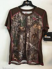 BERNE LADIES ASPEN PERFORMANCE SHORT SLEEVE TEE SIZE L CAMO REAL TREE BROWN NWT