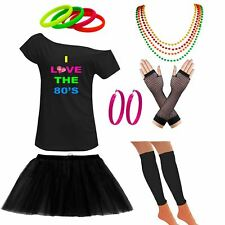 Womens Off Shoulder I Love The 80s T Shirt Earring Set Party Accessories 6338