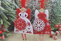 GISELA GRAHAM CHRISTMAS RED WHITE FABRIC SCANDI SNOWFLAKE FAIRY ANGEL DECORATION