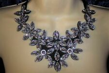 Silver Sparkle Flower Statement Necklace Bib Jewellery Gift Crystal Bling Lady