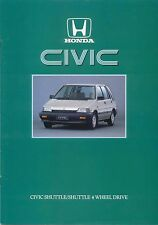 Honda Civic Shuttle & 4WD 1986 Original UK Sales Brochure Pub. No. A286