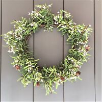 Bloomsberry White Berry Pine Cone Green Christmas Wreath  Door Wall 40cm