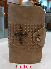 Womens Biker/Skull/Gothic leather wallet Cross (COFFEE) NWT  Free Postage
