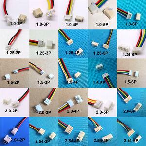 Micro JST SH 1.0 1.25 1.5 2.0 XH 2.54mm Male & Female  plug w./ Cables 10SET