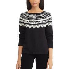 CHAPS RALPH LAUREN® M Black Fairisle Crewneck Sweater NWT $69