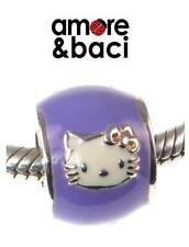 VGC genuine AMORE BACI sterling silver  LILAC PURPLE HELLO KITTY charm bead