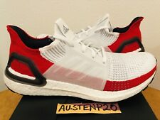 NEW $180 DS Adidas UltraBoost 19 Running Shoes White RED Sz 9.5 EF1341 4.0 3.0