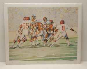 Texas vs Oaklahoma Football Limited Edition Lithograph Art Print Mark Reevers