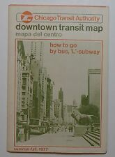 CTA - Chicago Transit Authority  1977  Downtown Transit Map   -
